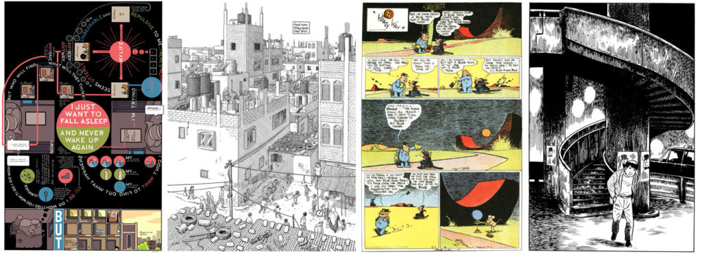 Fra venstre: Chris Wares Building Stories, Joe Saccos Footnotes in Gaza, George Herrimans Krazy Kat og Yoshihiro Tatsumis Leave the Old in Tokyo.